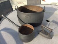 Vintage caste iron cooking pots and flat iron
