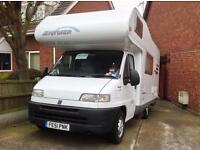MOTERHOME- 2001 Hymer Swing544 on Fiat Ducati base 5 Berth 6 Seatbelts 29.500 miles only 15.500.00