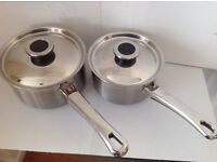 2 M&S Stainless Steel Saucepans