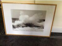 2 light. Wood framed pictures 2 large
