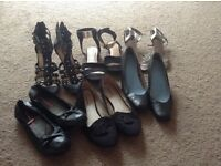 Assortment of Ladies shoes, Flats/Heals. All size 7.