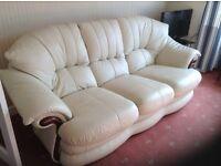 Leather suite,light cream colour,3+1+1(electric recliner),£350.00