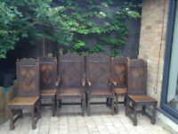6 Hand Carved Wainscot Dining Chairs - Made by Crown Guild of Master Woodcarvers £2k new