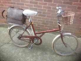 Vintage 1980 Raleigh Shopper with Wicker Basket and hold-all
