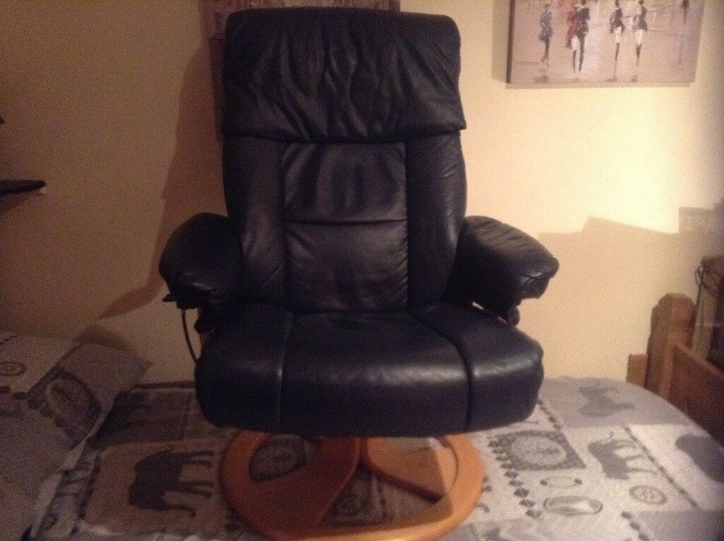 Miraculous Dark Blue Leather Swivel Recliner Chair With Footstool Superb Quality In Top Condition In Dundee Gumtree Lamtechconsult Wood Chair Design Ideas Lamtechconsultcom
