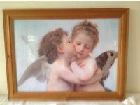 "Lovely large framed Cherub Picture. 34"" x 23"" looks lover over bed etc. £15.00"