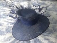 Beautifully elegant, navy/royal blue, worn once and briefly. In perfect condition and in hatbox.