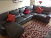 Leather grey corner sofa, excellent condition