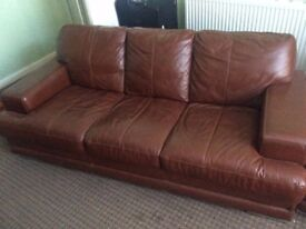 3 Seat Brown Leather Sofa + 2 Chairs for Quick Sale