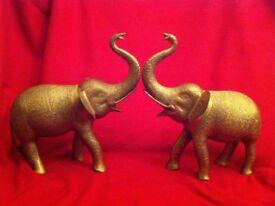 pair of vintage brass elephants