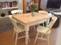 Pine Shabby Chic dining/kitchen table & 4 Chairs