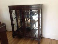 Re-production Mahogany - Floor Standing - Two door Glass Cabinet