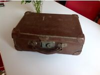 Small Vintage Brown Suitcase