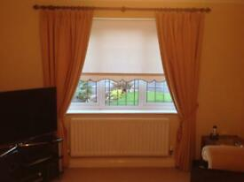 2 sets of gold colour fully lined curtains .
