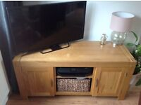 Solid oak tv stand