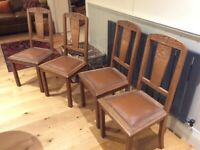 4 Solid Oak French Dining Chairs