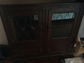 Oak laminate display cabinet