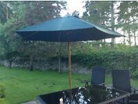 Garden Parasol with pulley system [new] and cast iron ornate base [used]