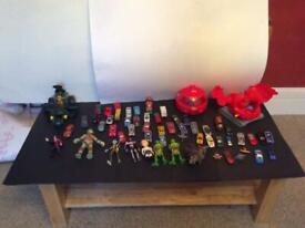 Boys cars and ninja turtles and other figures