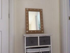 Pretty fabric frame mirror for sale £12.50