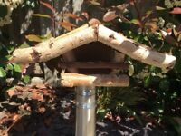 Birdhouse Birch Wood Thatched Roof with Feeding Station