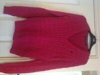 Ladies Ralph Lauren pink cable knit jumper size XS