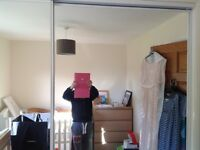 3 sliding mirrored wardrobe doors with all fittings and rails