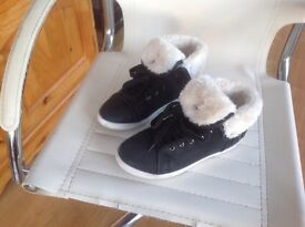 Ladies Black Boots with white fur.