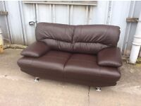 Venice Brown Leather 2 Seat Sofa - Free Local Delivery £199