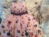 Debenhams girls lovely pink floral patterned dress age 8