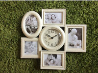 Shabby Chic Photograph Wall Clock with 5 photo frames