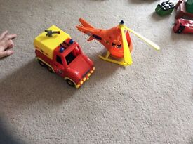 Fireman Sam helicopter and truck set