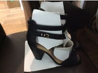 Ladies wide fit black strappy sandals