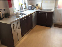 Used shaker style kitchen and worktops - Bosch dishwasher, Smeg cooker and induction hob included