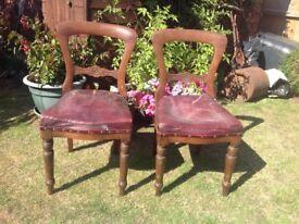 Pair antique heavy dark mahogany chairs