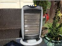 HALOGEN HEATER FIRE 3 SETTINGS OSCILATING IDEAL LITTLE HEATER MANY USES IE HOME AND ALSO CAMPING.