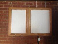 Kitchen units and window.