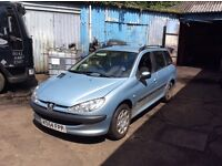 Peugeot 206 estate 2.0 diesal breaking for parts