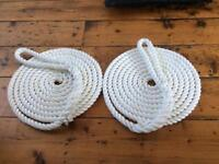 1 x Pair 16mm 3 Strand Polyester White Mooring Lines - NEW