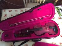 Childs 1/4 Purple violin, Excellent condition, includes purple case, shoulder rest, bow and resin