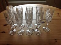9 crystal champagne glasses