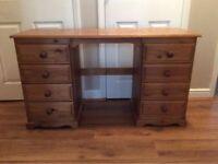 Solid Pine double pedestal Desk