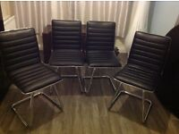 4 Black and Chrome Faux Leather Dining Chairs vgc