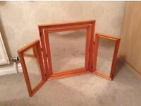 Good quality Triple Mirror in pine