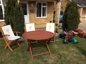 Garden Table & 3 Chairs with cushions all unused/Lawn Mower and Strimmer (hardly used)