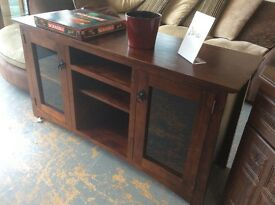 Wooden sideboard with glass cupboards