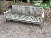 Very large teak garden seat bench inc. shower proof seat and back cushions. Bed