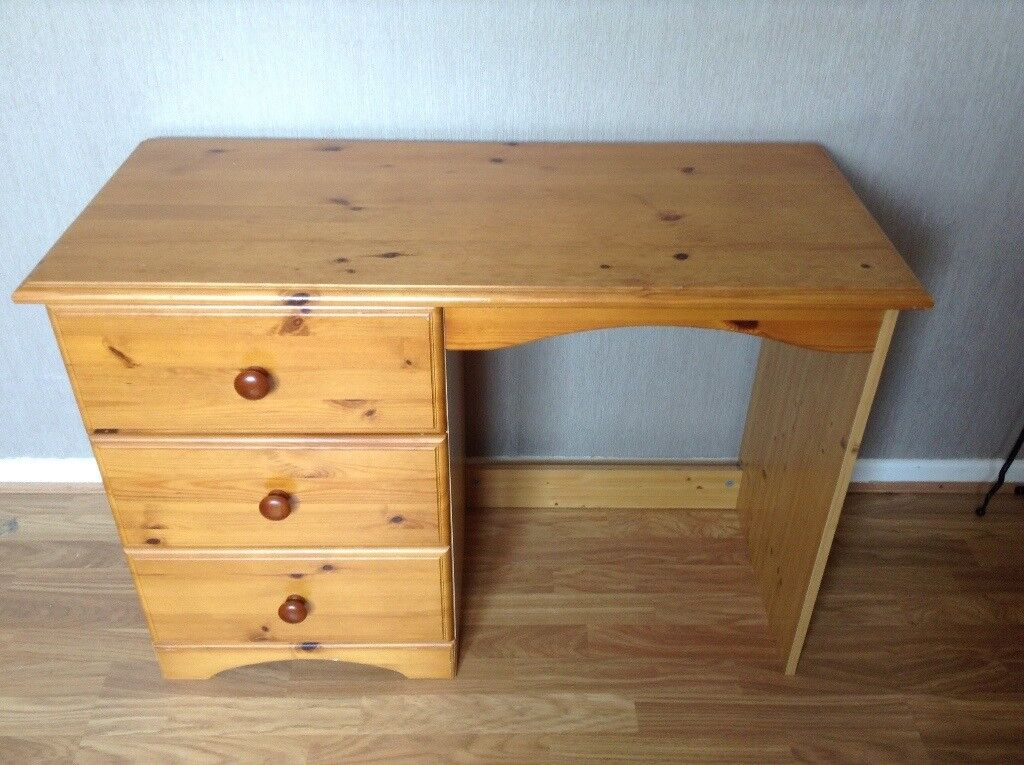 Small Pine Desk Dressing Table In