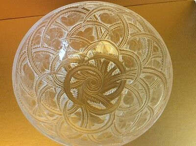 Stunning Lalique Pinsons Frosted Crystal Glass Bowl/Coupe with Birds, France