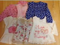 Small bundle of girls tops 3-6 months.